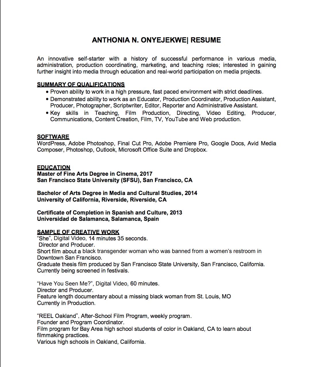 Résumé – anthonia onyejekwe